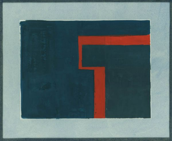 Artist Kathleen Guthrie: Red on blue, circa 1960